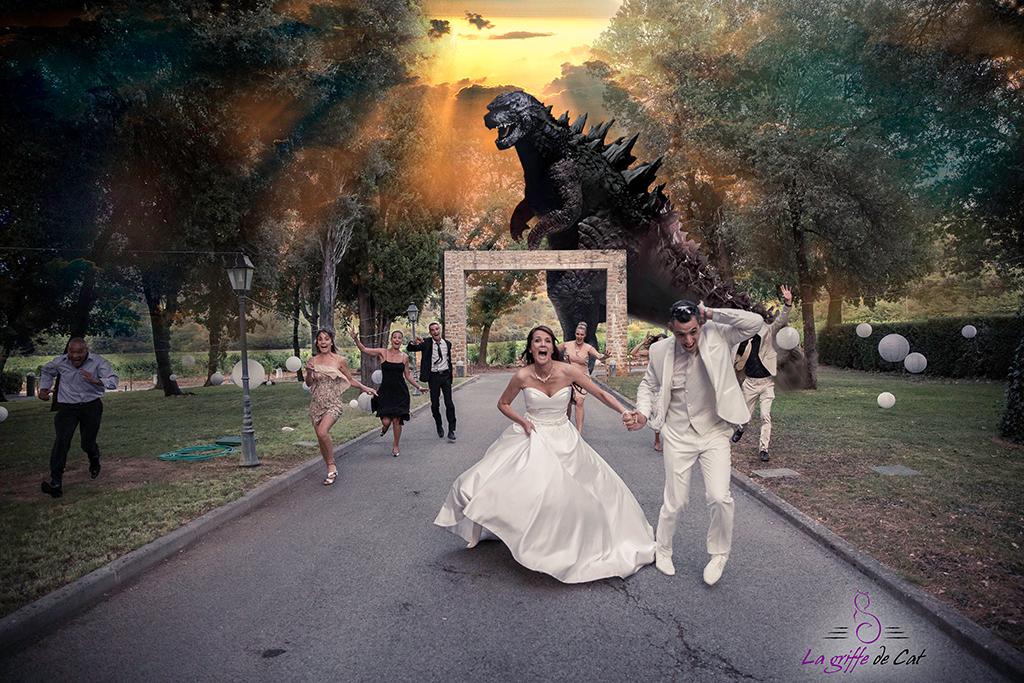 La griffe de Cat mariage cinéma Godzilla