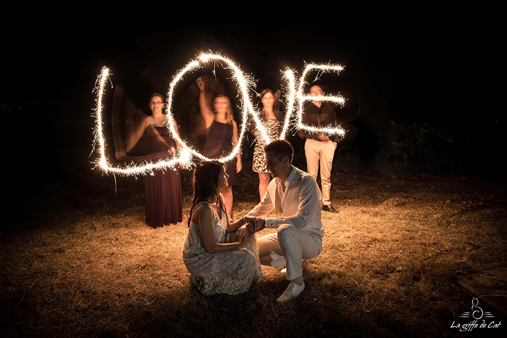 La griffe de Cat light painting mariage
